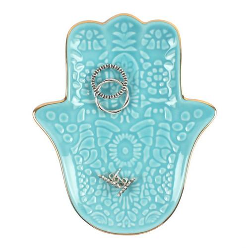 Turquoise Hamsa Hand Trinket Dish