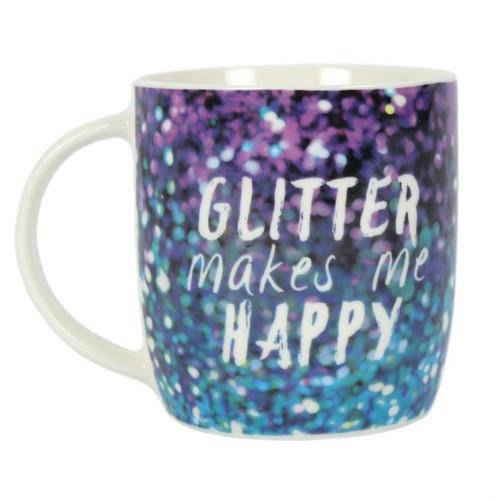 Purple Glitter Makes Me Happy Mug