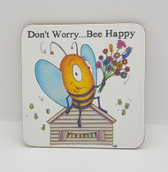 Don't Worry Bee Happy Drinks Coaster