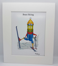 Bean Skiing Mounted Print