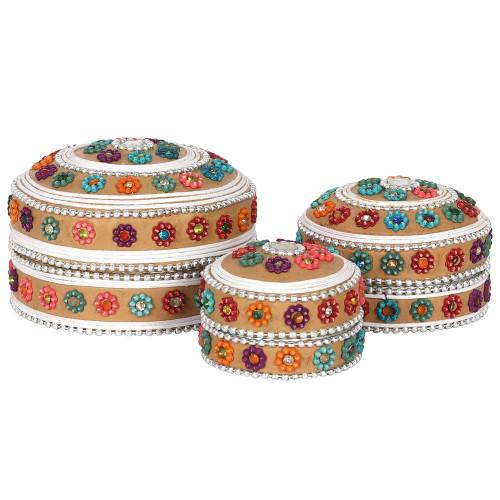 Set of 3 Cream Beaded Trinket Boxes