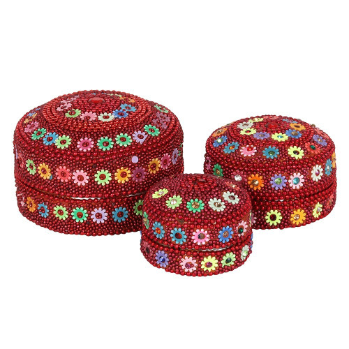 Set of 3 Red Beaded Trinket Boxes