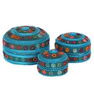 Set of 3 Blue Beaded Trinket Boxes