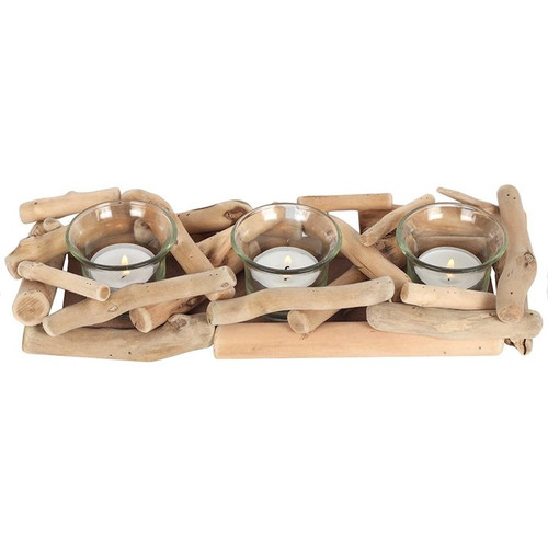 3-Piece Driftwood Candle Holder