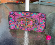 Large Embroidered Purse - Pink