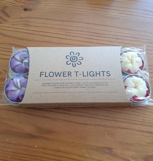 Set of 10 Frangipani Flower Tea Light Candles