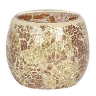 Large Gold Crackle Glass Candle Holder