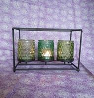 Decorative Triple Glass Votive Candle Holder
