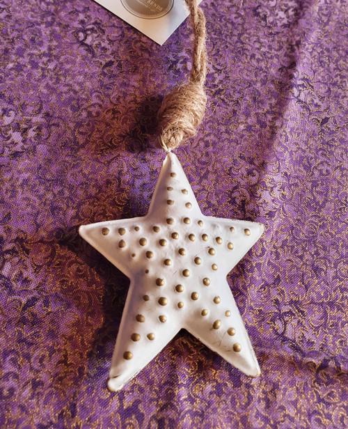 White Metal Star Hanging Decoration