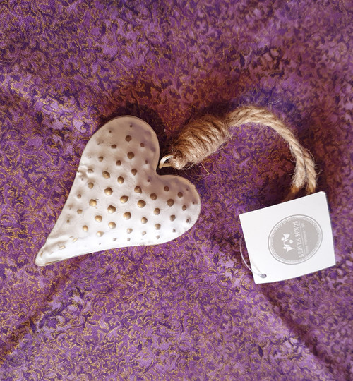 White Metal Heart Hanging Decoration