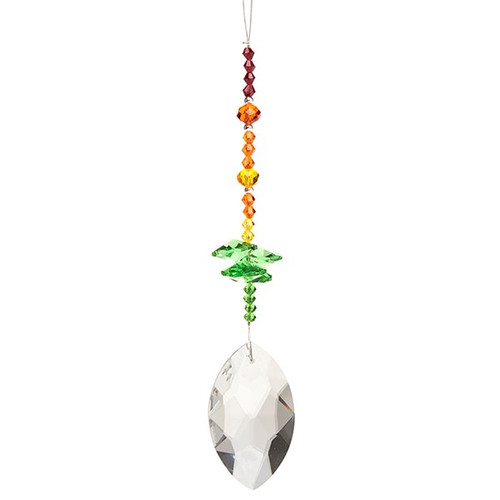 Kuya Oval Crystal Suncatcher - Green