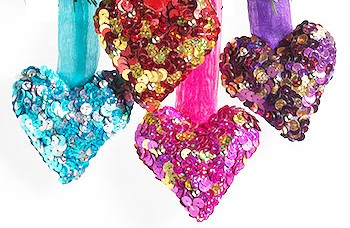 Sequin Hanging Heart Decorations
