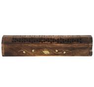 Mango Wood Incense Box - Elephant detail