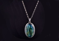Large Labradorite Pendant.   Set into 925 Sterling Silver. Silver chain sold seperately.