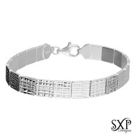 Textured Solid Silver Bricks Bracelet