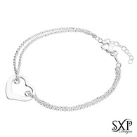Open Heart Double Chain Bracelet