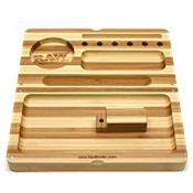 RAW Backflip Bamboo Striped Rolling Tray with Magnet