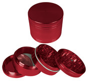 "HAMMERCRAFT 4PC Anodised Red Aluminum CNC Grinder Mini w/Magnet (40mm / 1.5"")"