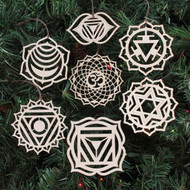 Chakra Ornaments - Set of Seven - Laser Cut Wood