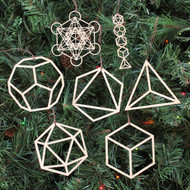 Platonic Solids Ornaments - Set of Seven - Laser Cut Wood