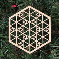 Sierpinski Hexagon Ornament - Sacred Geometry - Laser Cut Wood
