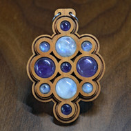 Amethyst & Rainbow Moonstone Double Layer Hardwood Pendant