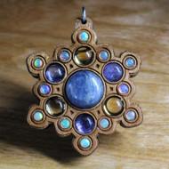 Blue Kyanite, Tanzanite, Citrine and Ethiopian Opal Cherry Hardwood Pendant