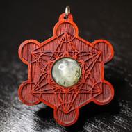 Engraved Metatron's Cube Pendant - Prehnite in African Padauk Hardwood