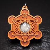 Engraved Metatron's Cube Pendant - Gold Rutilated Quartz in Cherry Hardwood