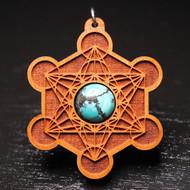Engraved Metatron's Cube Pendant - Turquoise in Cherry Hardwood