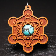 'Engraved Metatron's Cube' Pendant - Turquoise in Cherry Hardwood
