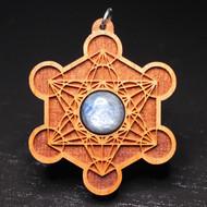 Engraved Metatron's Cube Pendant - Blue Kyanite in Cherry Hardwood