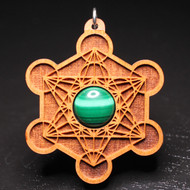 Engraved Metatron's Cube Pendant - Malachite in Cherry Hardwood