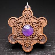 Engraved Metatron's Cube Pendant - Purple Amethyst in Walnut