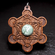 Engraved Metatron's Cube Pendant - Seraphenite in Walnut