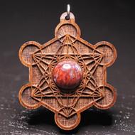 Engraved Metatron's Cube Pendant - Pietersite in Walnut