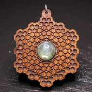 'Honeycomb Grid' Pendant - Labradorite in Walnut