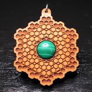 Honeycomb Grid Pendant - Malachite in Cherry Hardwood