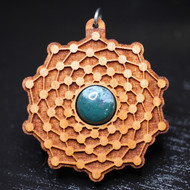 'Atomic Seed' Pendant - Moss Agate in Cherry Hardwood