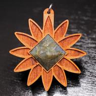 Seed Lotus Pendant - Labradorite Pyramid in Cherry Hardwood