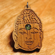 Buddha Head Pendant - Peridot in Cherry Harwood