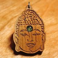 'Buddha Head' Pendant - Peridot in Cherry Hardwood