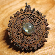 'Cosmic Download' Token Pendant - Labradorite in Walnut Hardwood