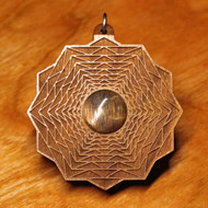 'Dimensional Hexagon' Pendant - Sunstone in Cherry Hardwood