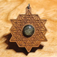 '64 Tetrahedron Grid' Pendant - Gold Sheen Obsidian in Cherry Hardwood