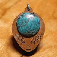 'Sacred Geometry Alien' Medium Pendant - 18mm Turquoise in Cherry Hardwood