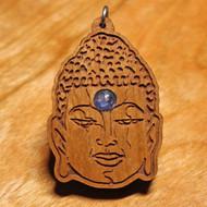 'Buddha Head' Pendant - Tanzanite in Cherry Harwood