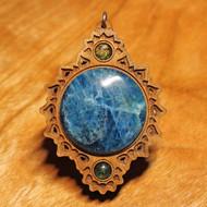 'Crown Mandala' Pendant - Apatite and Peridot in Cherry Hardwood
