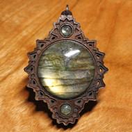 'Crown Mandala' Pendant - Labradorite in Walnut Hardwood