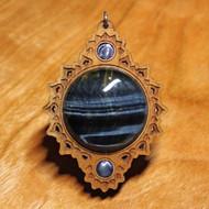 'Crown Mandala' Pendant - Blue Tigereye and Blue Paua Shell in Cherry Hardwood